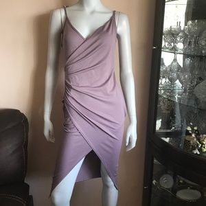 NWT Boohoo Night Mauve Lucie Strappy Wrap Dress